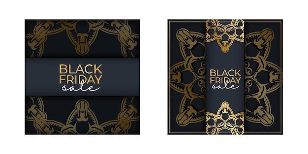 Празднуйте распродажу плакатов черной пятницы темно-синего цвета с древним золотым орнаментом