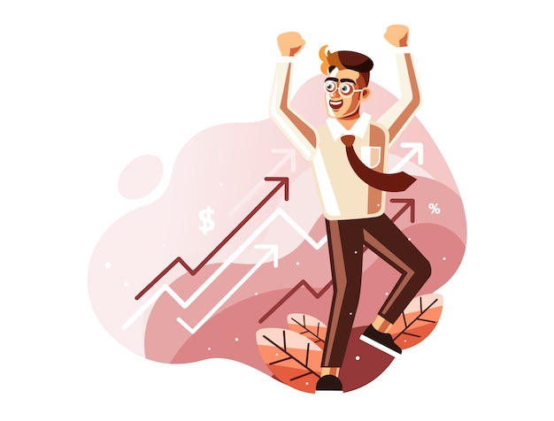 Celebrate profits concept illustration