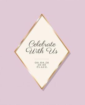結婚式の招待状のゴールドフレームで私たちと一緒にテキストを祝う