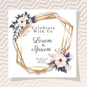 花と葉でゴールドフレームのテキストを私たちと一緒に祝う