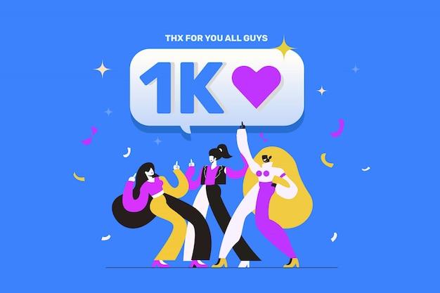 소셜 미디어 팔로워를 좋아하는 1k 축하