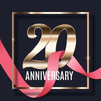 Празднование 20 летие эмблема шаблон дизайна с фоном плаката золотые номера. иллюстрация