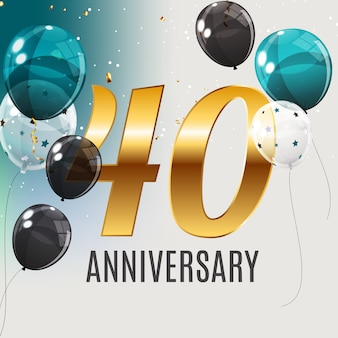 Celebrating 40 anniversary emblem template design with gold numbers poster background.   illustration