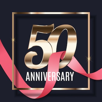 금 숫자 포스터 배경으로 50 주년 기념 엠블럼 템플릿 디자인을 축하합니다. 삽화