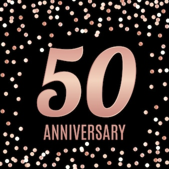 골드 숫자 포스터 배경으로 50 주년 상징 템플릿 디자인을 축하합니다.