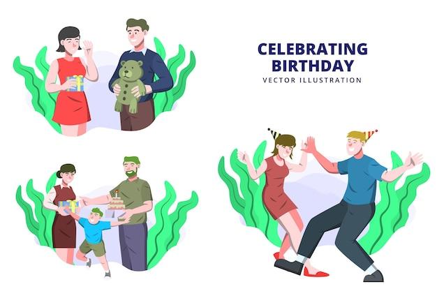 Празднование дня рождения - векторные иллюстрации деятельности