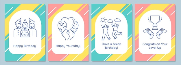 Celebrating birthday party postcards with linear glyph icon set. greeting card with decorative vector design. simple style poster with creative lineart illustration. flyer with holiday wish
