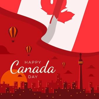 カナダの日フラットデザインを祝う