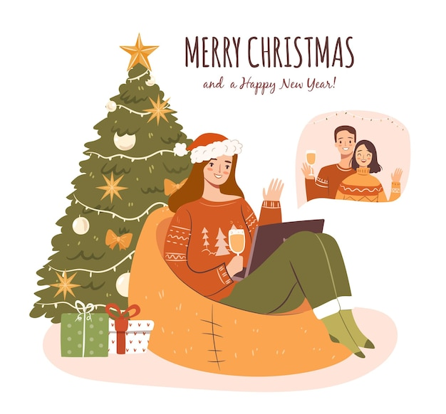 Празднование рождества и нового года с помощью видеозвонка на ноутбуке счастливая девушка со своими друзьями онлайн
