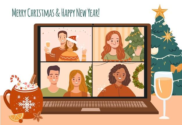 Празднование рождества онлайн с помощью ноутбука счастливые люди на групповом звонке на рождество или новый год