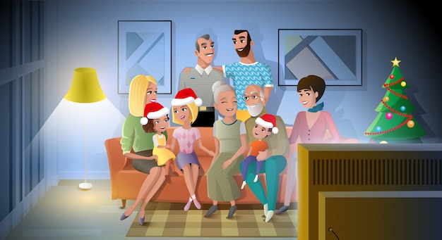 Celebrating christmas with family cartoon vector