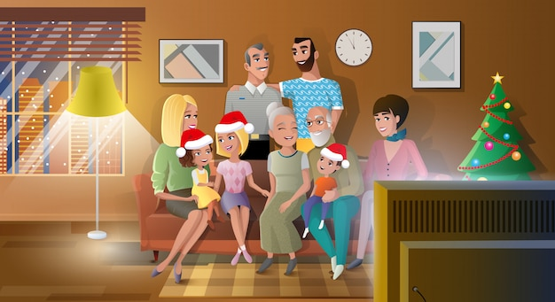 Celebrating christmas with family vector concept