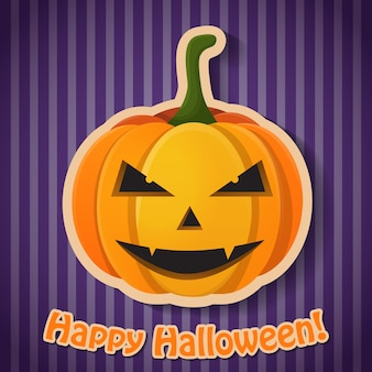 Celebrating halloween party poster with inscription and paper evil pumpkin on purple striped background