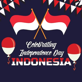 Celebrating happy independence day of indonesia