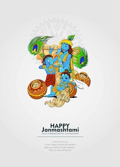 Celebrating happy janmashtami festival of india with llustration of lord krishna
