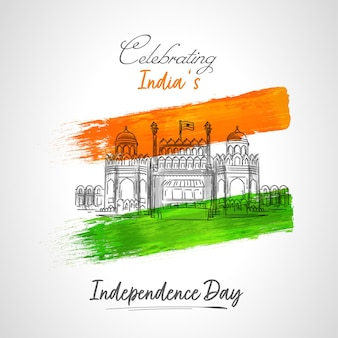 Celebrating india's independence day concept with sketching red fort, saffron and green brush effect on white background.
