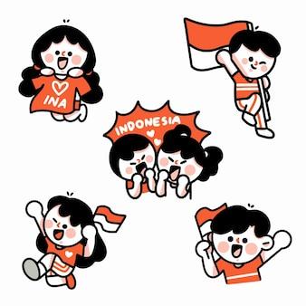 インドネシアの記念キャラクターを祝う落書きイラスト4セット