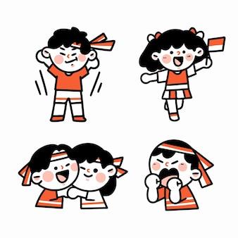 インドネシアの記念日を祝うキャラクター落書きイラストセット