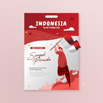 Celebrating indonesian youth pledge day illustration on poster template