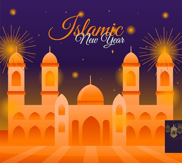 Celebrating islamic new year vector illustration with mosque and fireworks background