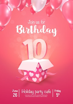 Празднование дня рождения 10 лет векторные иллюстрации 3d. празднование десятилетнего юбилея
