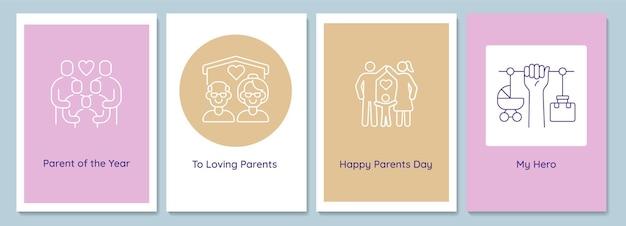 線形グリフアイコンが設定された家族のポストカードで父母の日を祝います。装飾的なベクトルデザインのグリーティングカード。クリエイティブな線画イラスト付きのシンプルなスタイルのポスター。休日の願いを込めたチラシ