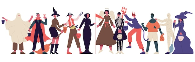 Celebrating people in halloween costumes halloween spooky outfits party vector illustration
