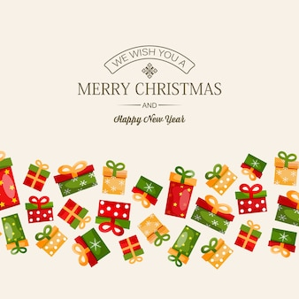 Celebrating winter holidays design concept with greeting inscription and colorful gift boxes on light illustration