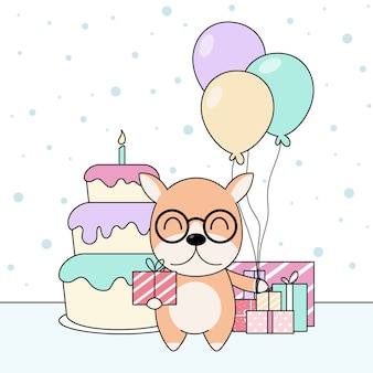 Celebratioin of cute dog with cake, gift and balloons.