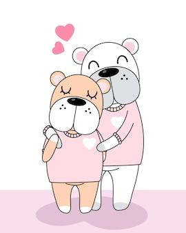 Celebratioin of cute dogs loving couple.