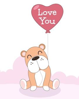 ハートの風船でかわいい犬のお祝い。バレンタインのコンセプト。