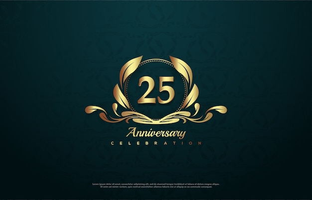 Celebration of 25th anniversary with a gold number inside a gold emblem.