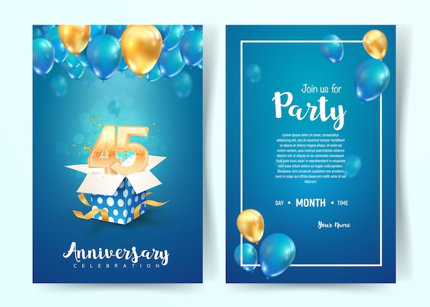 Celebration of 45th years birthday vector invitation card. forty five years celebration brochure.