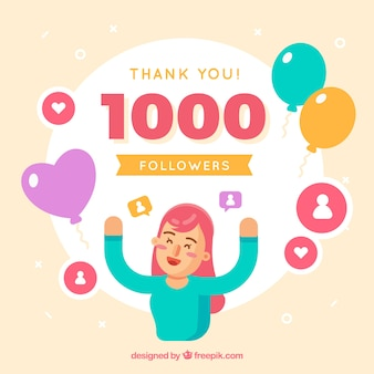 Celebration background of 1k followers in flat design