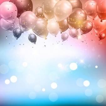 Celebration background of balloons and confetti