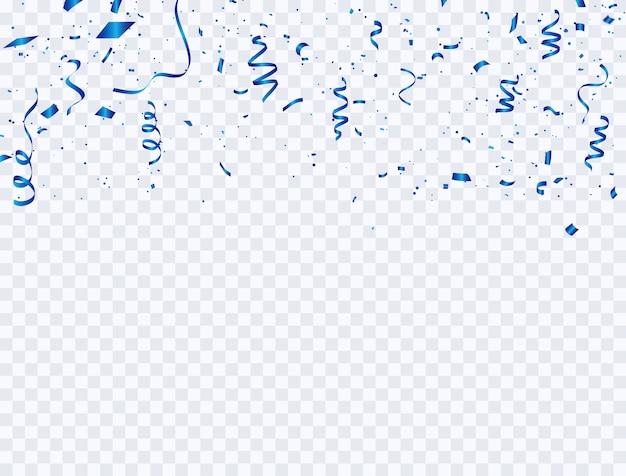 Celebration background confetti and blue ribbons.
