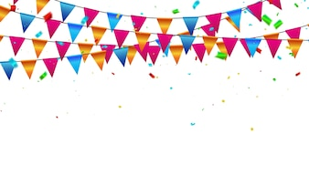 Celebration background flags confetti Colorful ribbons.