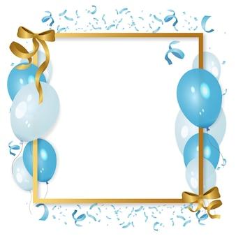 Празднование фоновой рамки с воздушными шарами