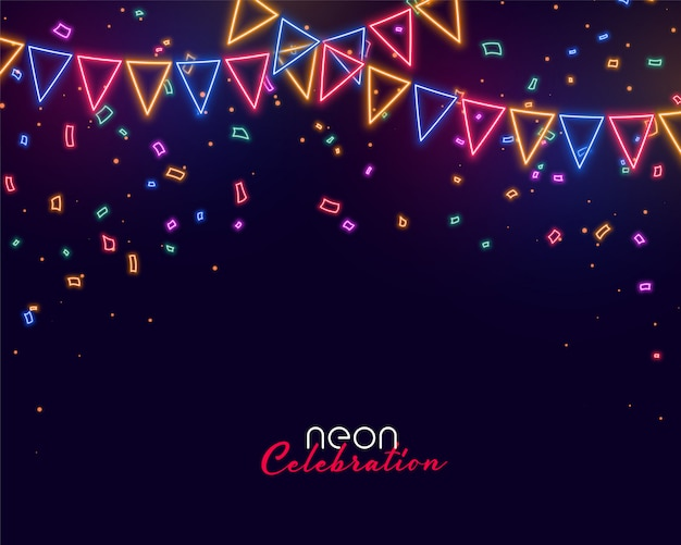 Celebration background in neon style