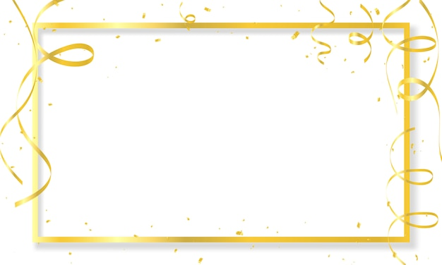 Celebration background template with confetti gold ribbons frame