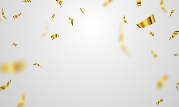 Celebration background template with confetti gold ribbons.