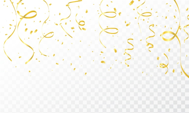 Celebration background template with confetti gold ribbons