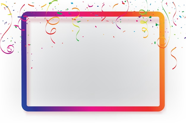 Celebration background template with confetti ribbons.