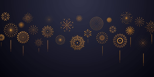 Celebration background template with fireworks gold. luxury greeting rich card.