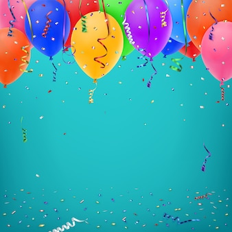 Celebration background template with konfetti, colorful ribbons and balloons.