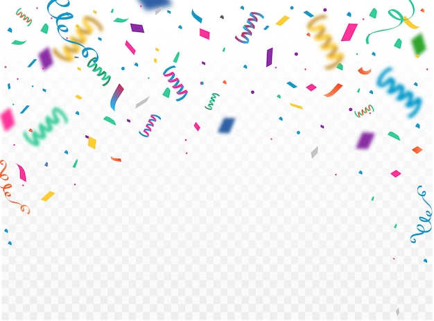 Celebration background template with konfetti and colorful ribbons.   illustration