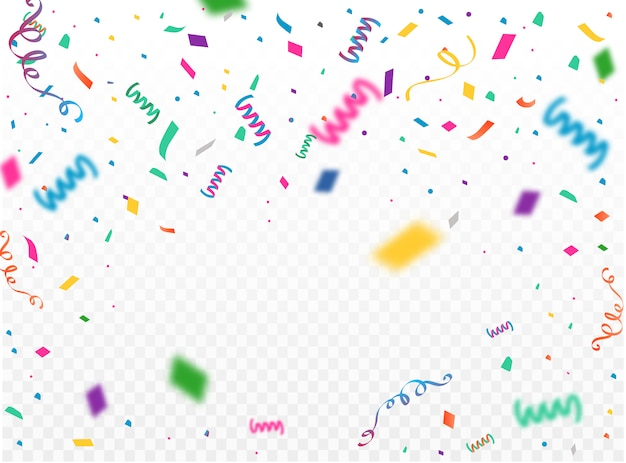 Celebration background template with konfetti and colorful ribbons.