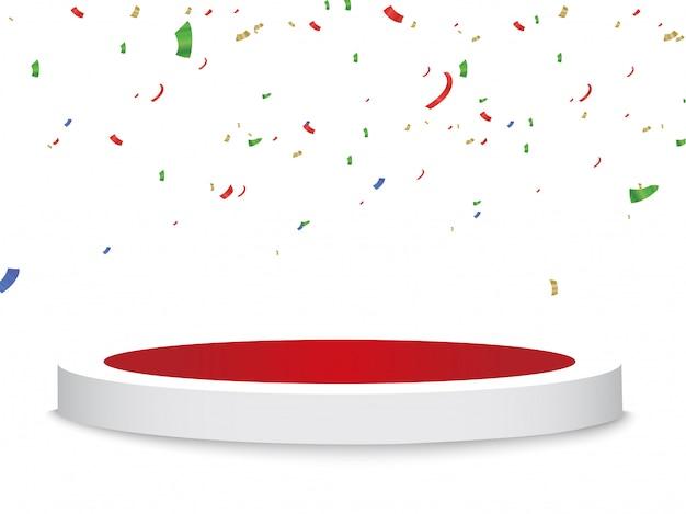 Празднование фон шаблон с постаментом, конфетти и разноцветными лентами