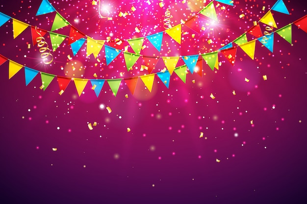 Celebration background with colorful party flag and falling confetti