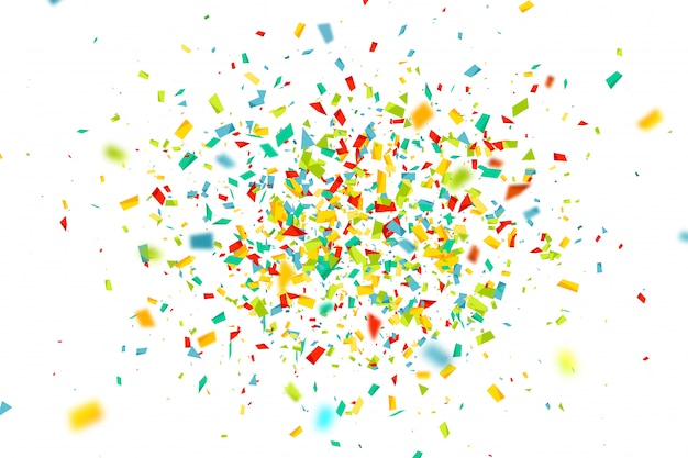 Celebration background with fly colorful confetti